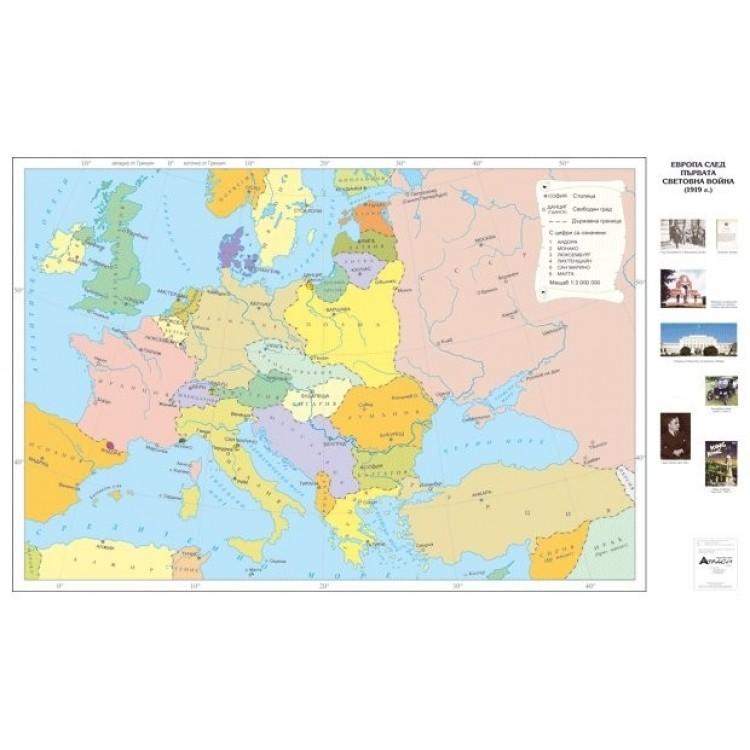 Karta Evropa Sled Prvata Svetovna Vojna 1919 G
